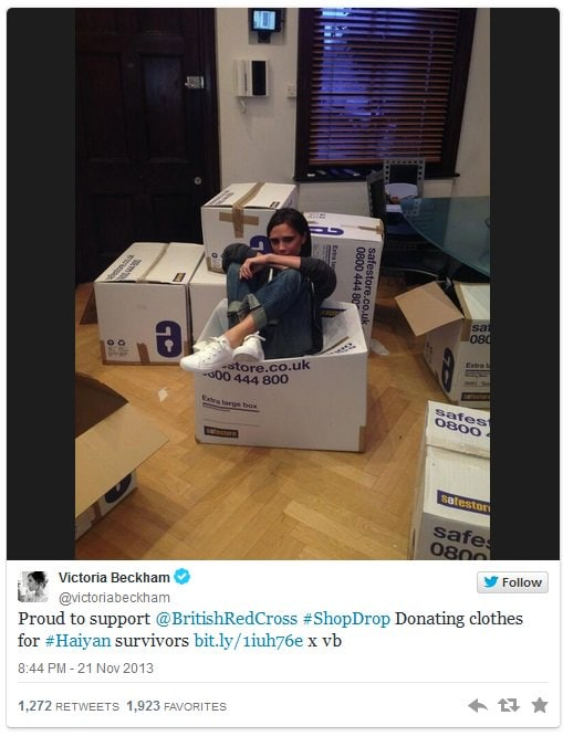 David Beckham and Victoria Beckham donated clothing and shoes to the survivors Typhoon Haiyan in the Philippines