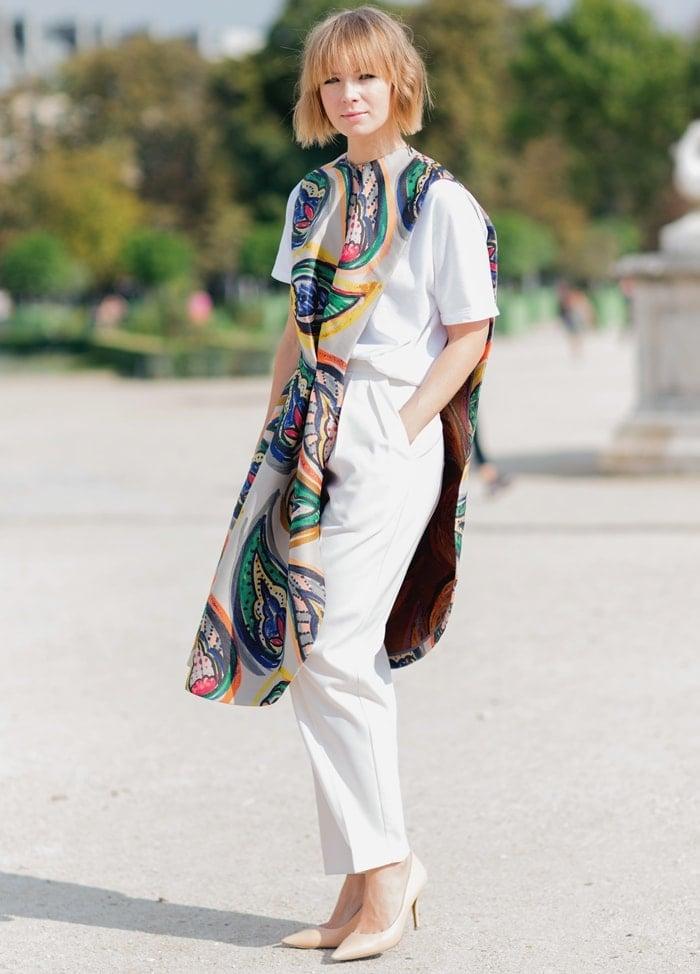 Fashion Designer Vika Gazinskaya wearing her own design
