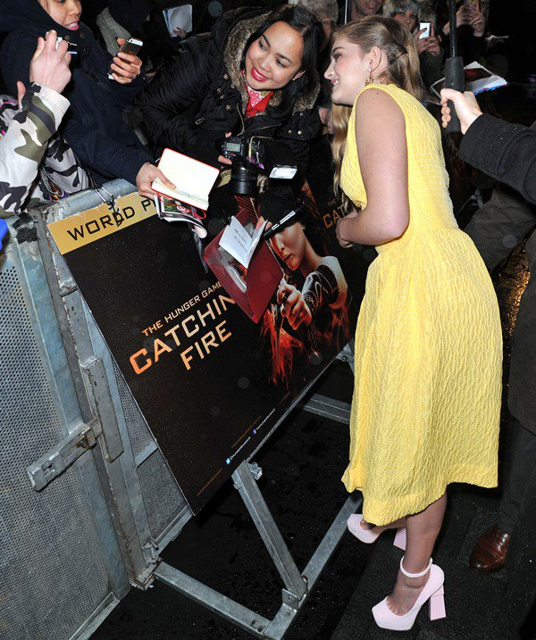 Willow Shields at the world premiere of 'The Hunger Games: Catching Fire' at the Odeon Leicester Square in London, England, on November 11, 2013