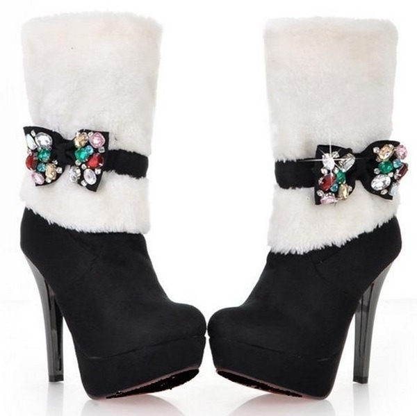 High-Heel Winter Boots Featuring Removable Rhinestone Bowknots Black