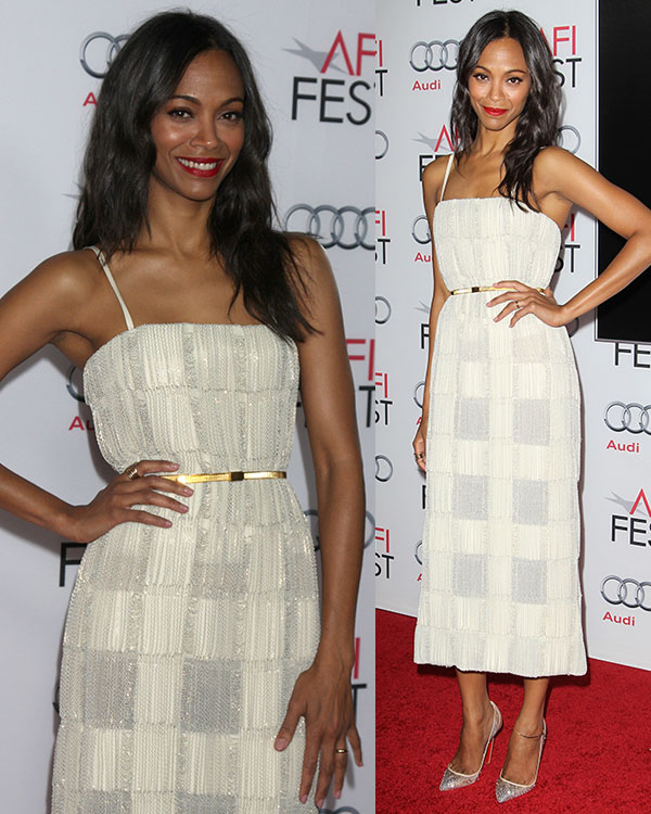 Zoe Saldana looked gorgeous in a cream Calvin Klein dress with shimmery embroideries and embellishments that created a check-like pattern
