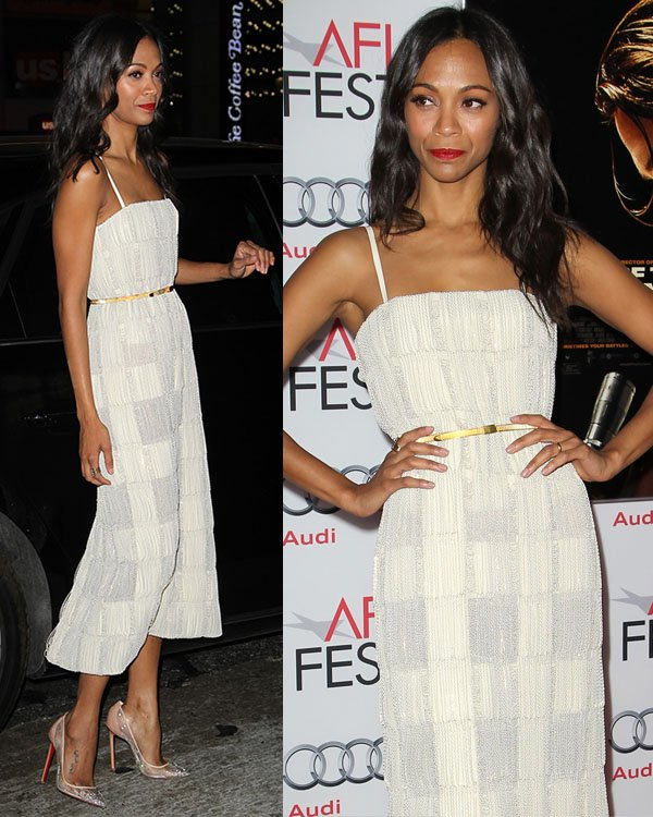 Zoe Saldana at the 'Out of the Furnace' premiere during the AFI FEST 2013 presented by Audi at TCL Chinese Theater in Los Angeles on November 9, 2013