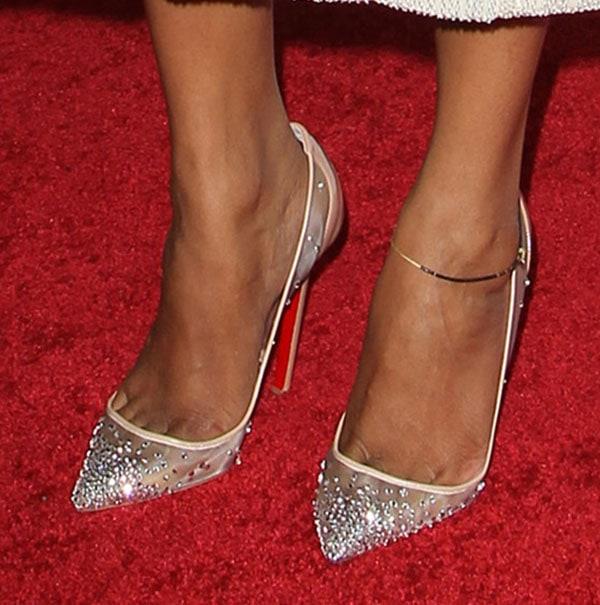 Zoe Saldana wearing crystal Christian Louboutin heels