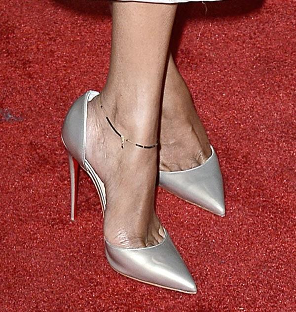 "Zoe Saldana in Christian Louboutin ""Iriza"" pointed-toe d'Orsay pumps"
