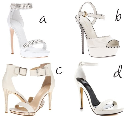 4 White Ankle Strap Sandals