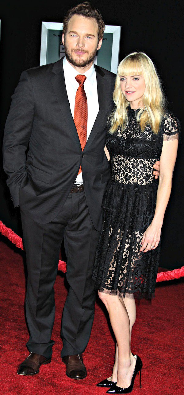 Anna Faris looking sexy in black lace as she joins husband Chris Pratt on the red carpet for the premiere of 'Delivery Man' held at the El Capitan Theatre in Hollywood, Los Angeles, California, on November 3, 2013