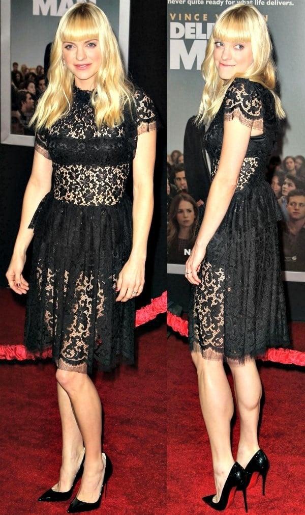 Anna Faris flaunted her legs in a Dolce & Gabbana sheer lace dress