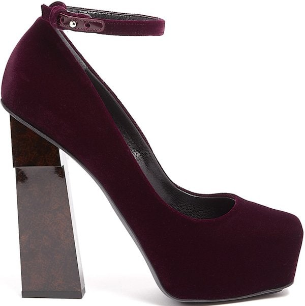 "Aperlai ""Geisha Doll"" Pump in Red Wine Velvet"