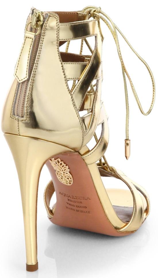 aquazzura beverly hills lace up sandals gold 3