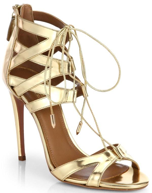 aquazzura beverly hills lace up sandals gold