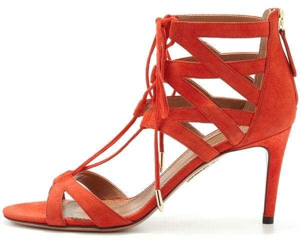 aquazzura beverly hills lace up sandals red orange