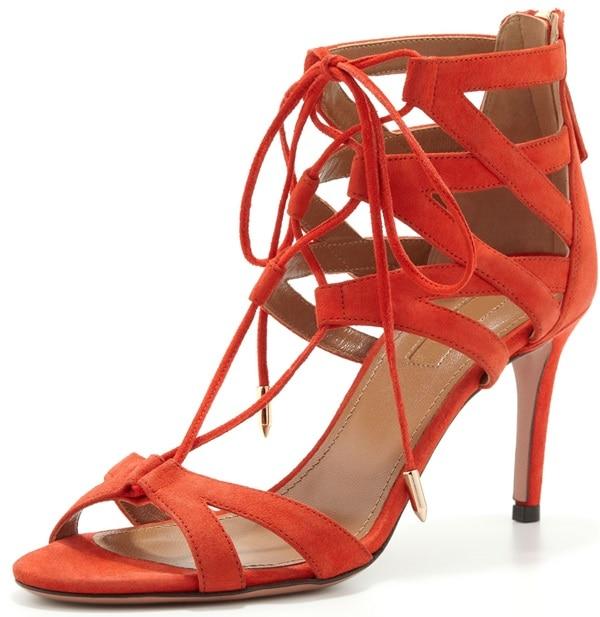 aquazzura beverly hills lace up sandals red