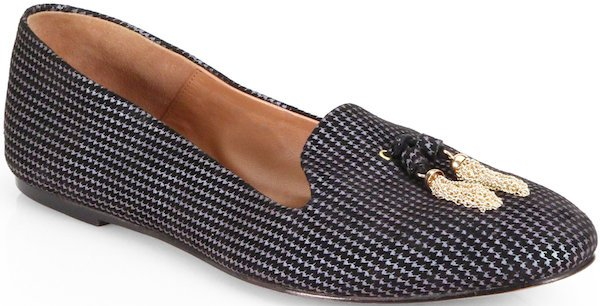 "Aquazzura ""Corsini"" Houndstooth Suede Smoking Slipper"