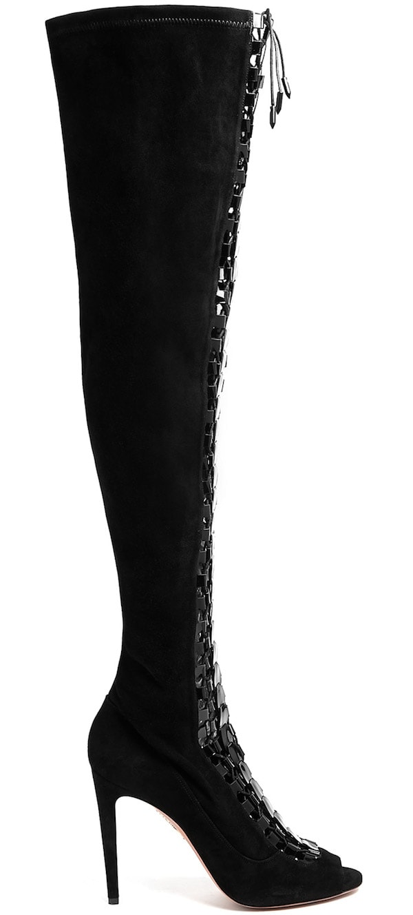 "Aquazzura ""Hard Rock"" Knee-High Lace-Up Boot"