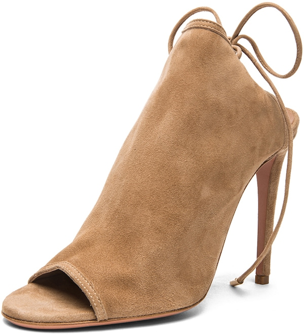 "Aquazzura ""Mayfair"" Suede Peep-Toe Bootie in Nude"