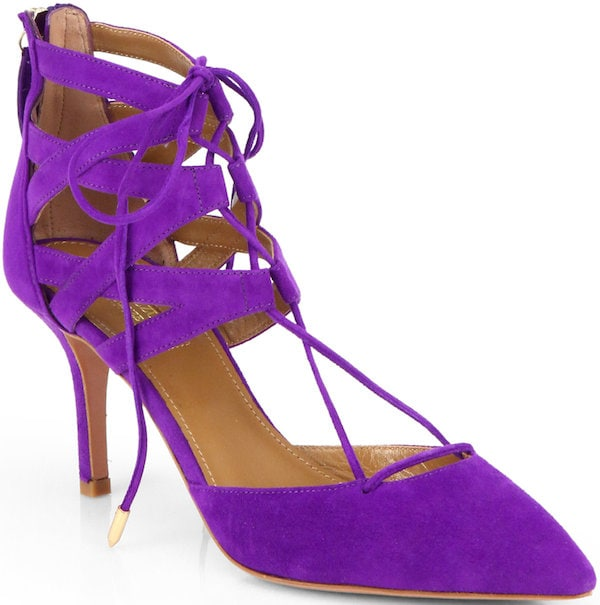 "Aquazzura ""Belgravia"" Lace-Up Pump in Violet Suede"