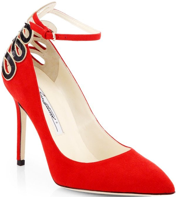 """Brian Atwood """"Sybil"""" Ankle-Strap Pump in Red Suede"""