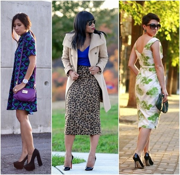 Bloggers Genesis, Stella, and Anna wear their black pumps the right way by mixing them with bold prints