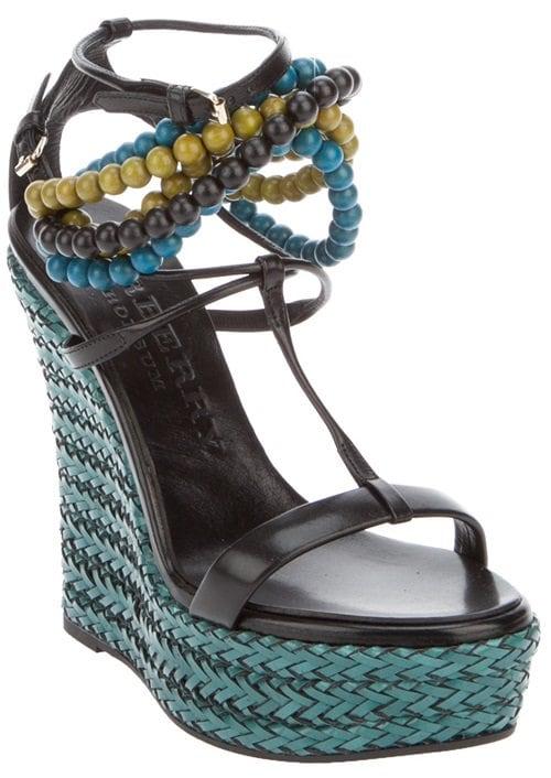 Burberry Prorsum Beaded Wedge Sandals