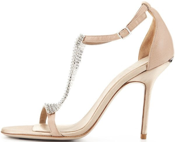 Burberry Satin Crystal-Embellished Sandal