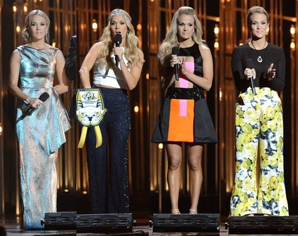 Carrie Underwood wore a bevy of outfits while hosting the 47th Annual Country Music Awards