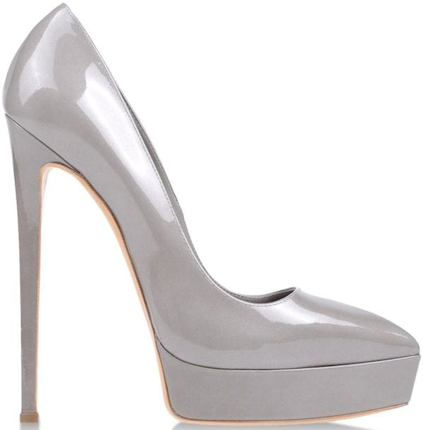 Casadei Platform Pumps in Gray Patent Leather