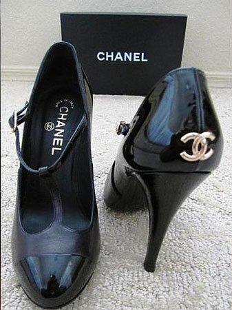 Black vintage Chanel T-strap high heel pumps