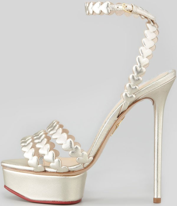 """I Heart You"" metallic platform sandals from Charlotte Olympia"