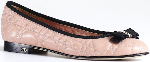 Christian Dior Ballerina Flat in Pale Pink Leather