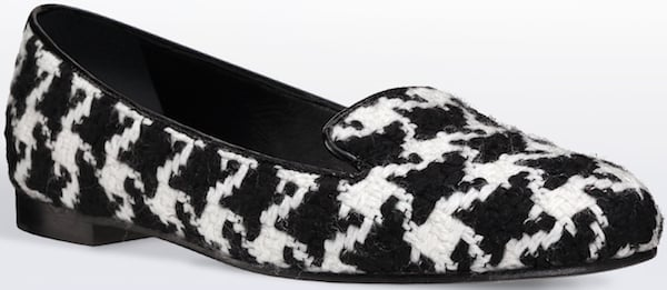 Christian Dior Black-and-White Houndstooth Tweed Loafer