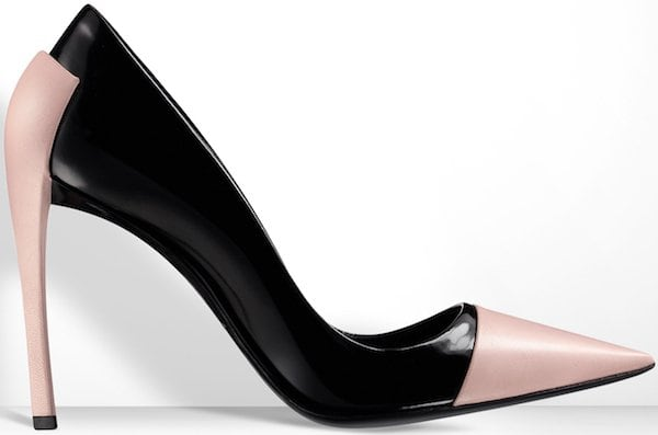 Christian Dior Black Glazed Leather and Pink Kidskin Pump