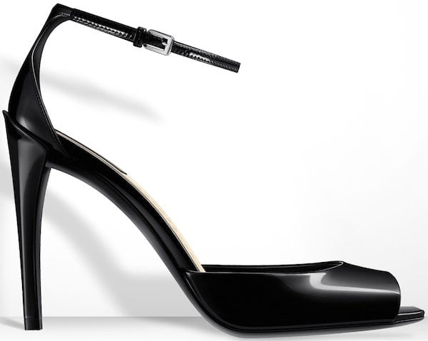 Christian Dior Black Glazed Leather Sandal