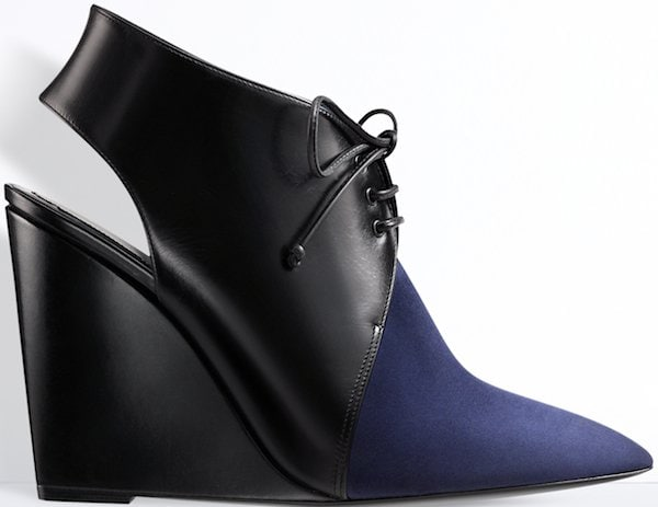 Christian Dior Black Leather and Navy Blue Suede Leather Boot