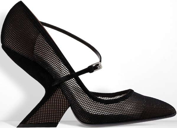 Christian Dior Black Mesh and Suede Pump