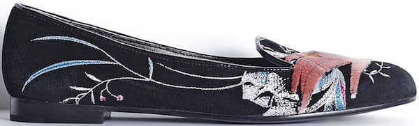 Christian Dior Black Suede Calfskin Loafer with Hand-Embroidered Motif
