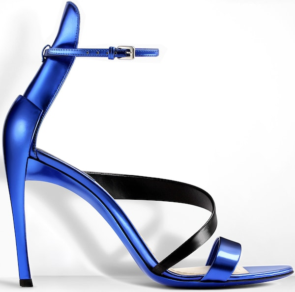 Christian Dior Blue-and-Black Mirror Leather Sandal