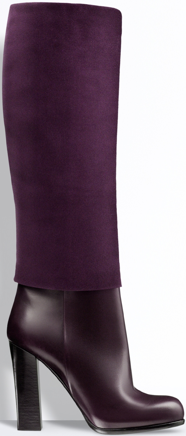 Christian Dior Dark Plum Leather and Suede Calfskin Boot