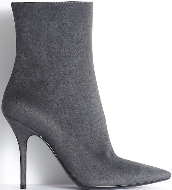 Christian Dior Grey Suede Calfskin Pointed Ankle Boot