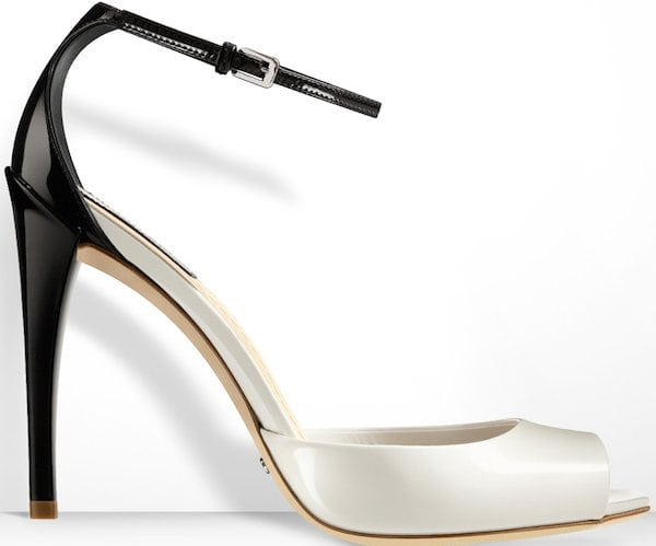 Christian Dior Latte-and-Black Glazed Leather Sandal