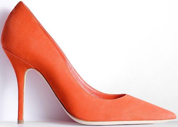 Christian Dior Pointed Toe Pump in Orange Suede Calfskin