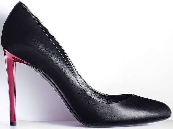 Christian Dior Pump in Black Leather and Rose Bonbon Metal