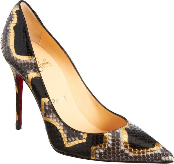 "Christian Louboutin ""Decollete 554"" Python Pumps in Black and Gold"