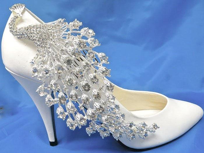 Crsytal Peacock Shoe Clips