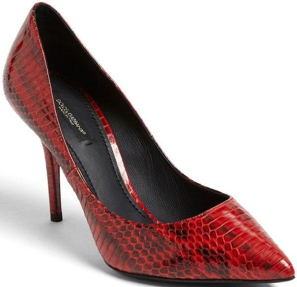 Dolce & Gabbana Red Elaphe Snakeskin Pumps