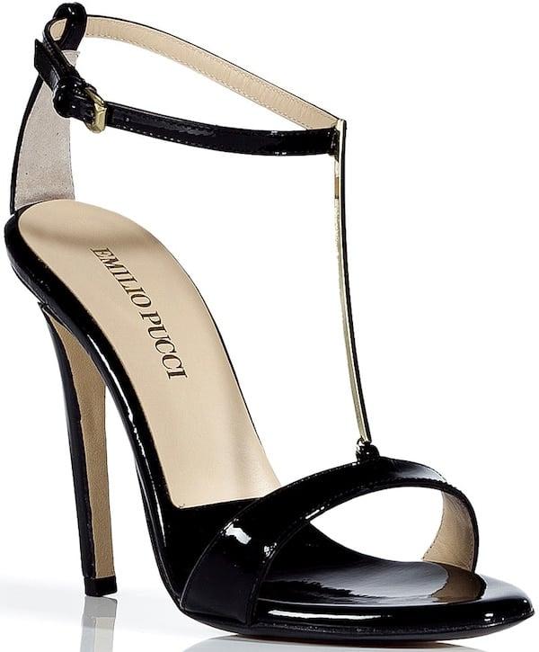Emilio Pucci Black Patent Leather T-Strap Sandal