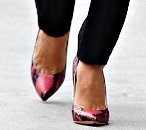 Eva Longoria rocking red python pumps from Brian Atwood