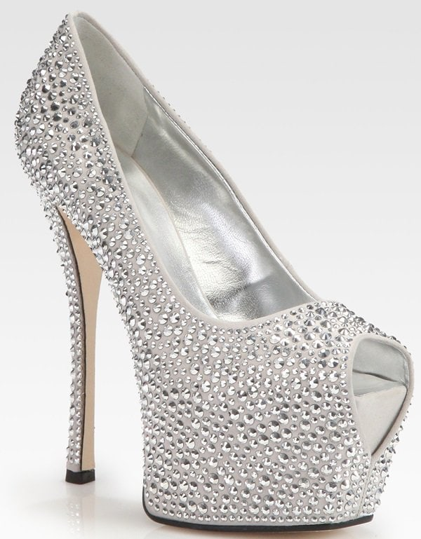 Giuseppe Zanotti Crystal Coated Suede Platform Pumps