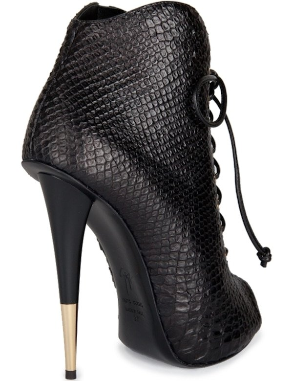 Giuseppe Zanotti Python-Embossed Lace-up Ankle Boot