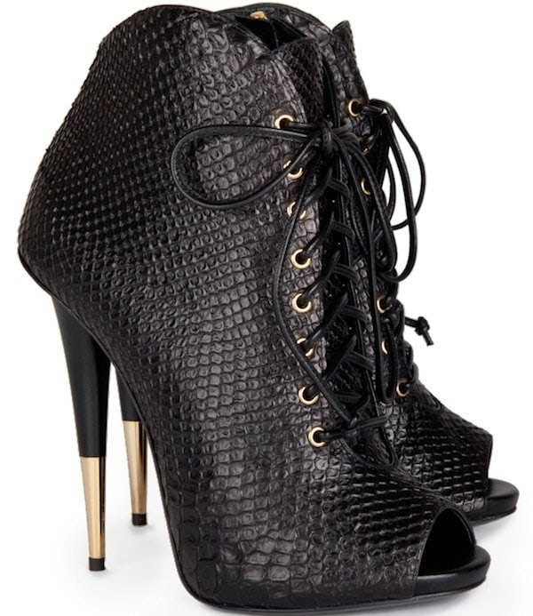 Giuseppe Zanotti Python-Embossed Lace-up Ankle Boots