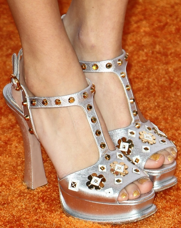 A guest wearing gorgeous Prada platform sandals